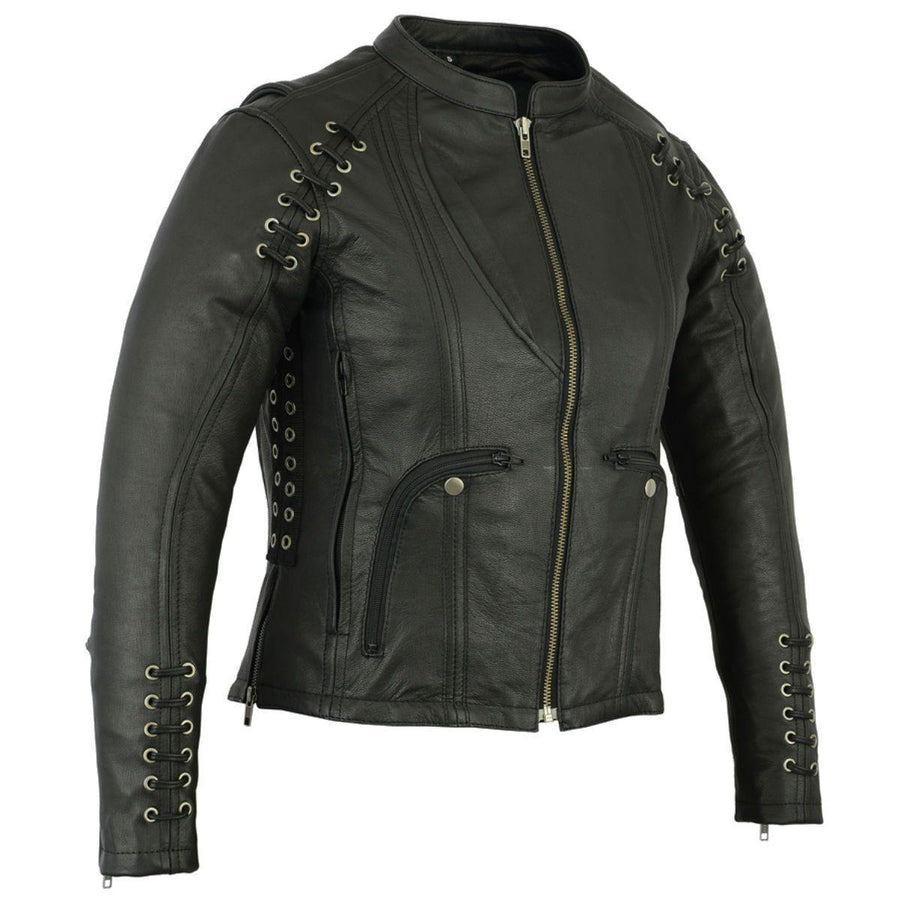 Daniel Smart Ladies Jacket with Grommet & Lacing Accents