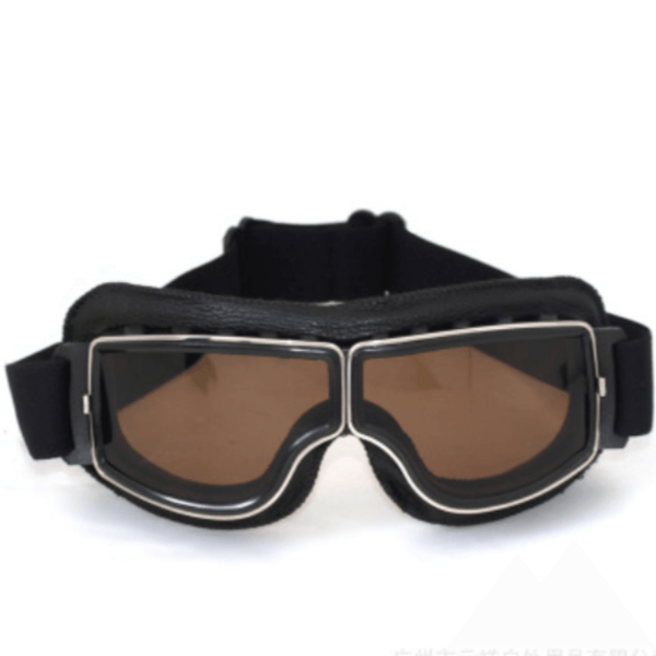Vintage Aviator Motorcycle Goggles w/ Adjustable Strap, One Size, Black ABS Frame, Brown Lens