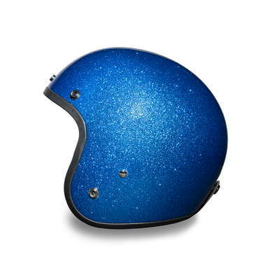 D.O.T. Daytona Cruiser Blue Metal Flake Motorcycle Open Face Helmet