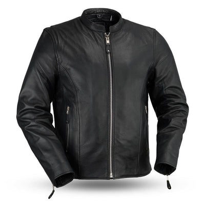 First Manufacturing Ace Clean Cafe Style Black Leather Jacket