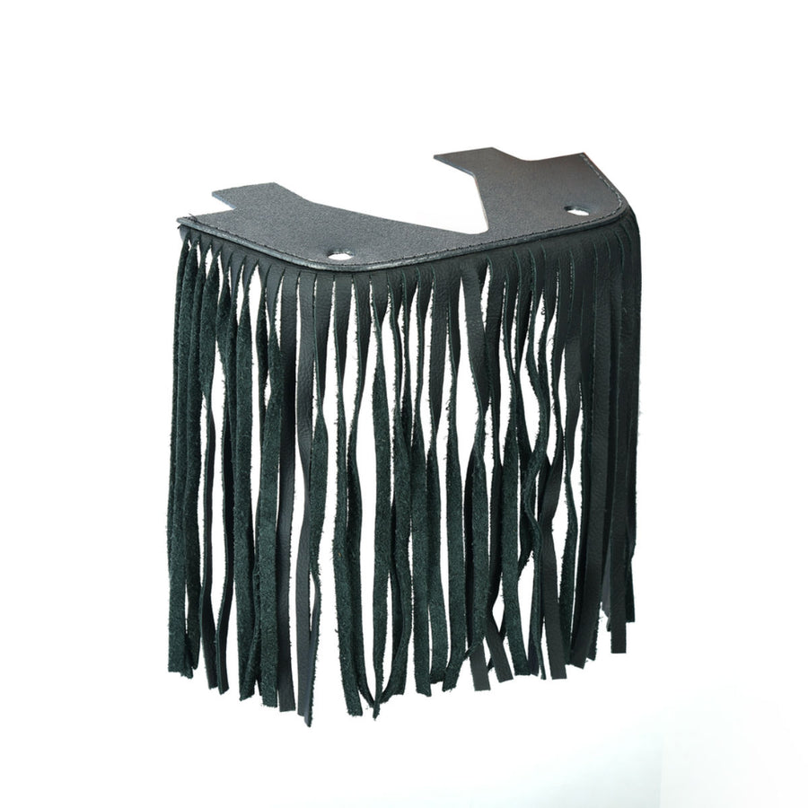 Daniel Smart Black Leather Floor Boards with Fringe , Small
