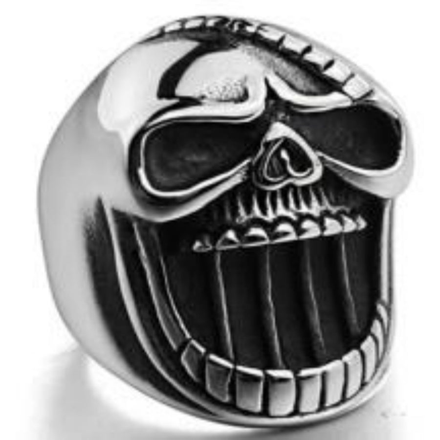 Daniel Smart Stainless Steel Big Face Skull Biker Ring