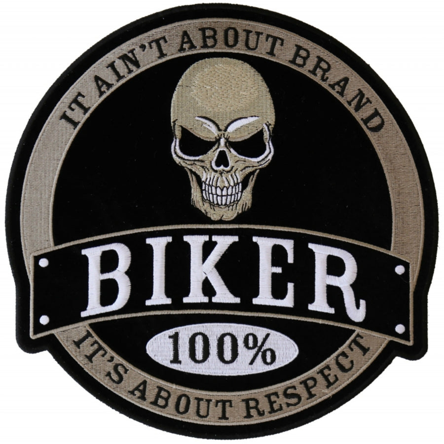 Daniel Smart 100% Biker Skull Embroidered Iron on Patch, 10 x 10 inches