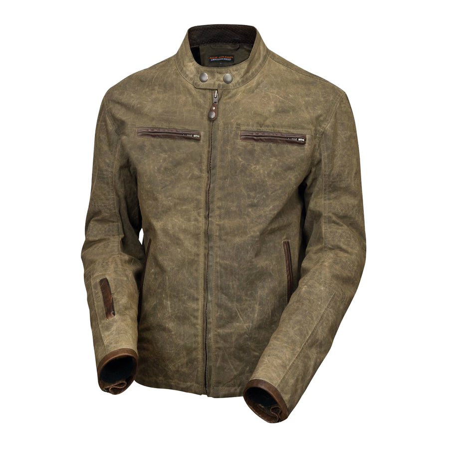 Vance Leather Rusty Men's Brown Wax Cotton Scooter Jacket