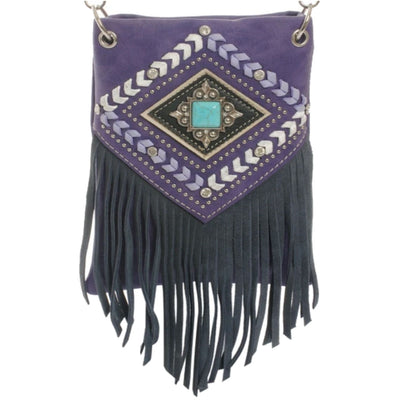 Daniel Smart Women's Crossbody Handbag, Fringe w/ Crystals, Geometric Pattern, Purple