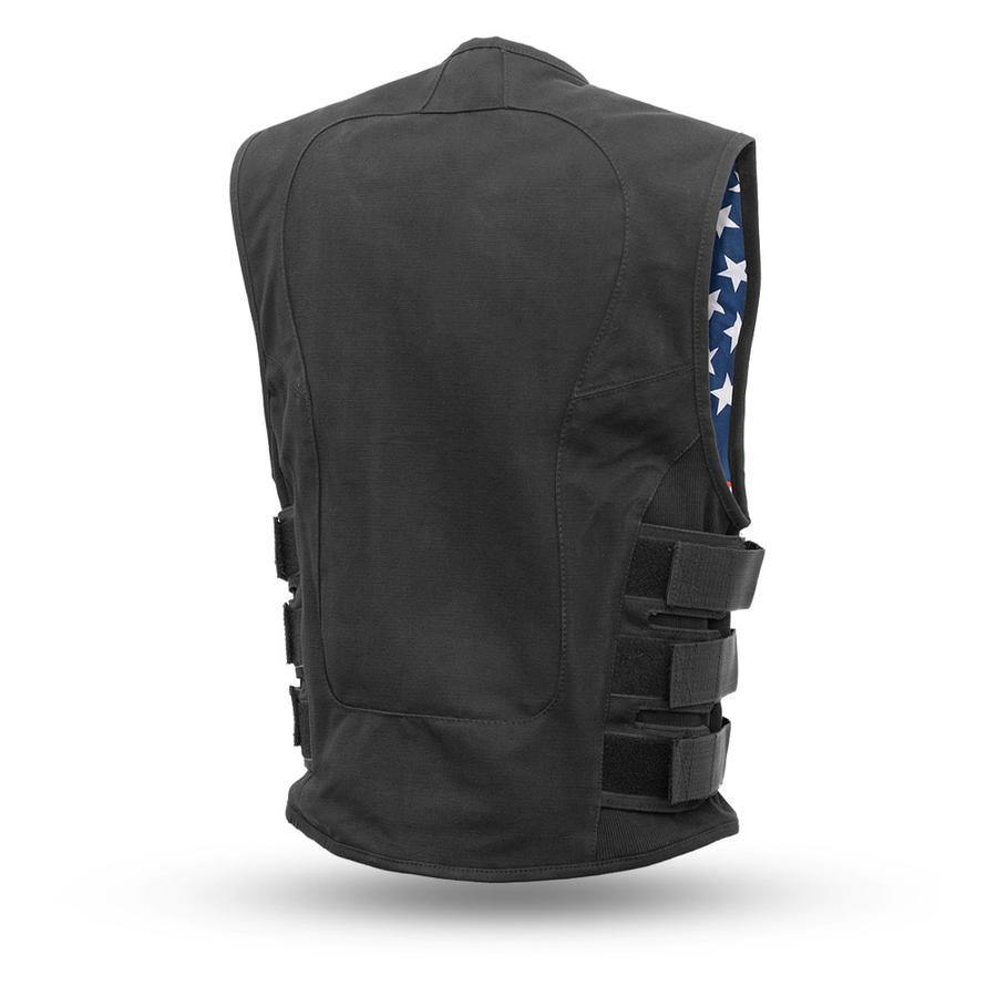 First Manufacturing Men's Commando Swat Style Black Canvas Vest w/ USA Flag Inner Lining