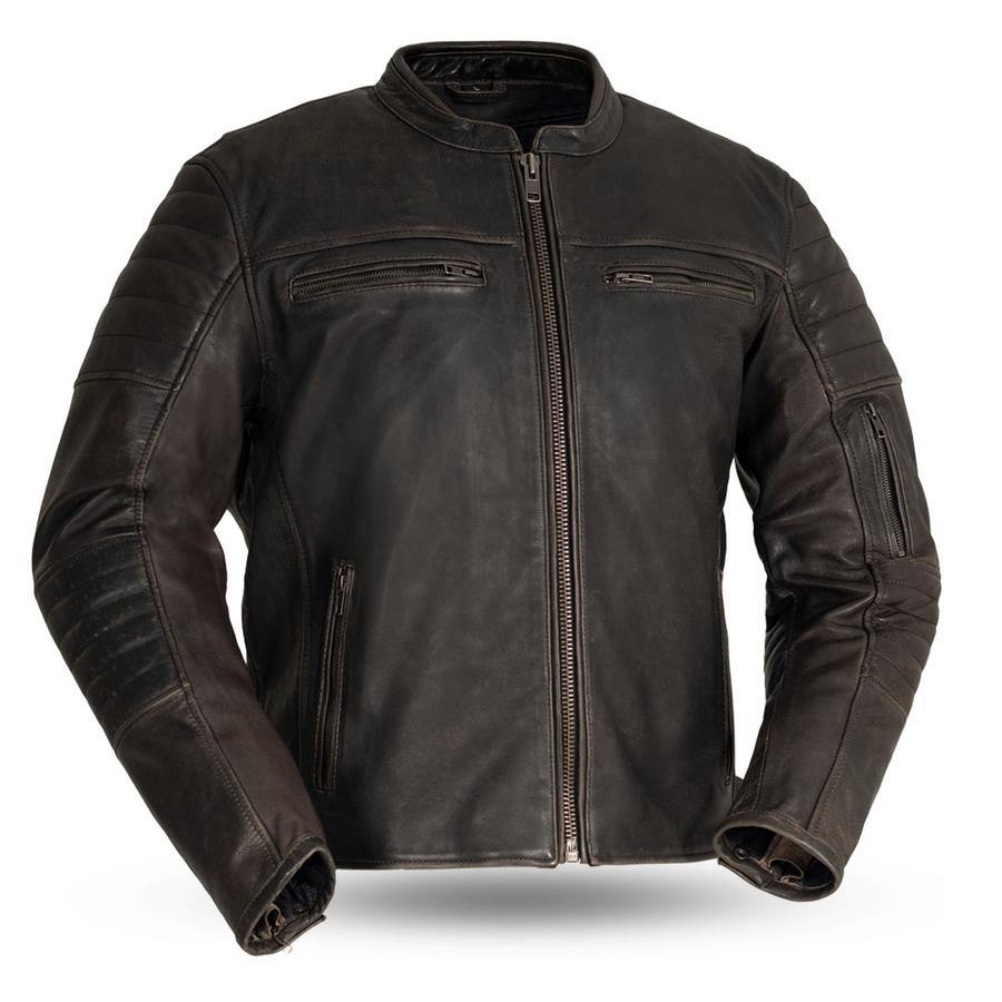 First Manufacturing Commuter - Men's Motorcycle Leather Jacket, Brown