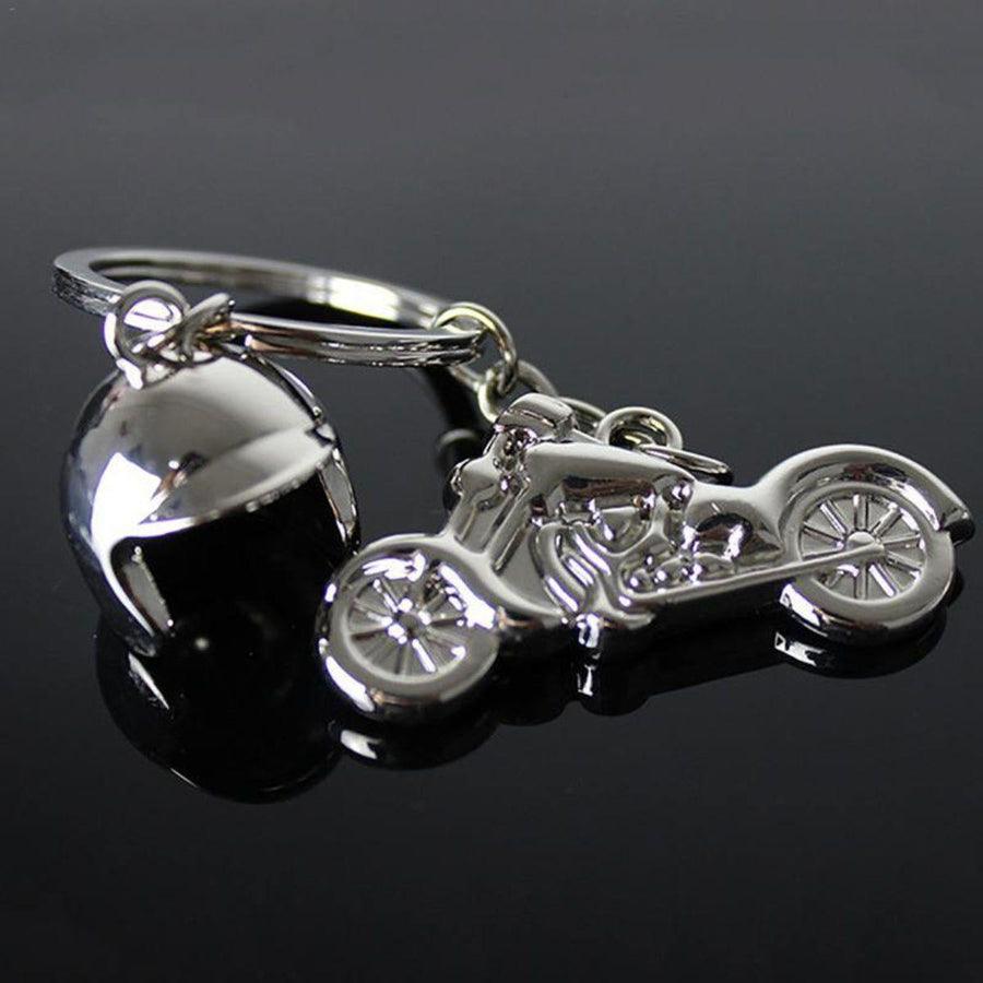 Motorcycle with Helmet Keychain