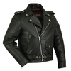 Daniel Smart Classic Plain Side Police Style M/C Leather Jacket - American Legend Rider