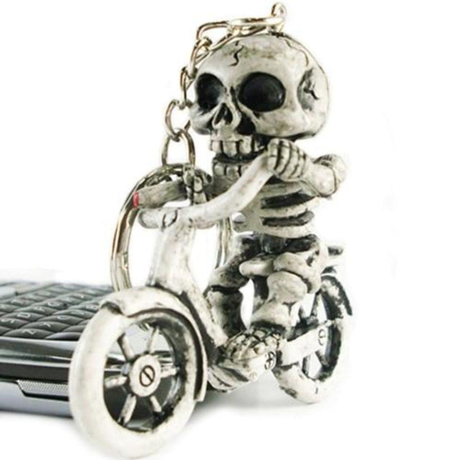 Skeleton on Motorcycle Keychain, Rubber, Stainless Steel Chain, White - American Legend Rider
