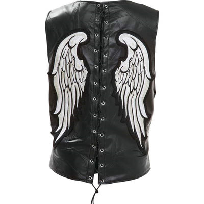 Jillian Women's Angel Wings Biker Leather Vest, Black, M-3X