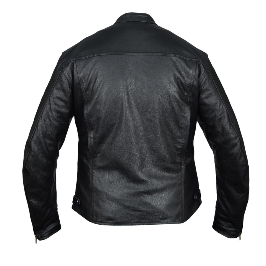 Vance Leather High Mileage Men's Black Vented Premium Leather Scooter Jacket