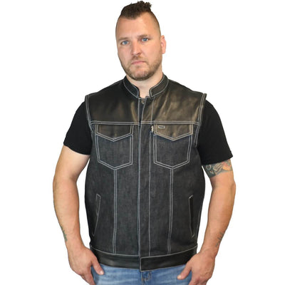 Daniel Smart Leather/Denim Combo Vest