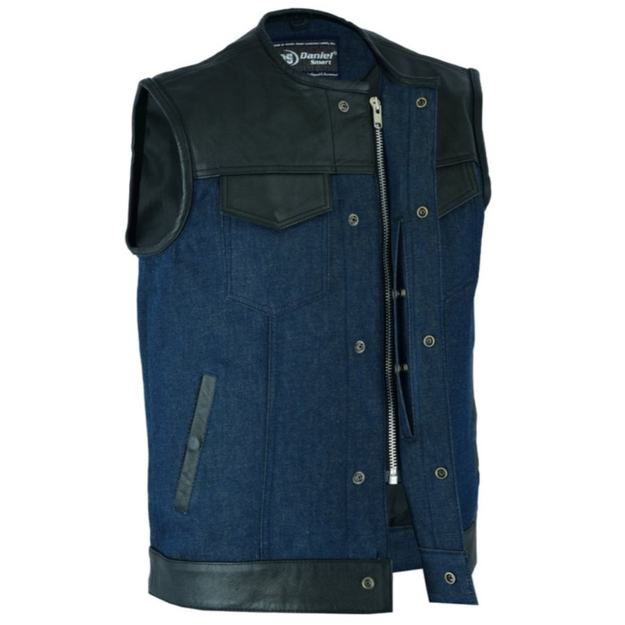 Daniel Smart Men's Leather/Denim Combo Vest (Black/Broken Blue)