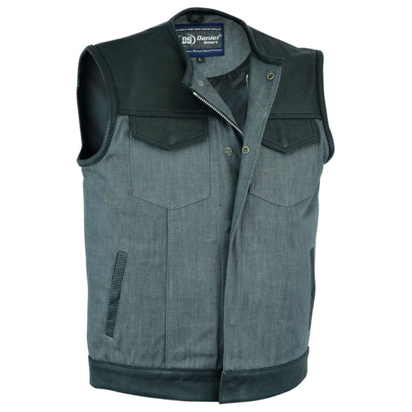 Daniel Smart Perforated Leather/Denim Combo Vest