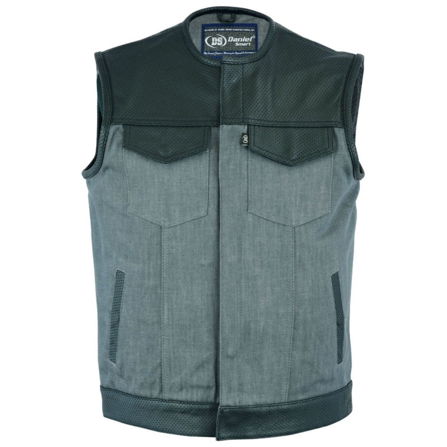 Daniel Smart Perforated Leather/Denim Combo Vest, Black/Ash Gray