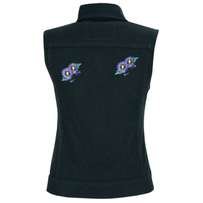 Daniel Smart Women's Black Denim Snap Front Vest with Purple Daisy