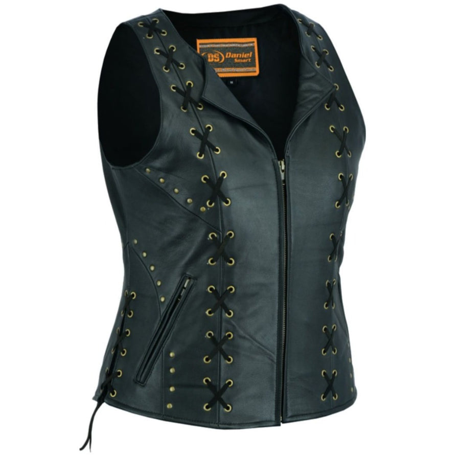 Daniel Smart Women's Zippered Leather Vest w/ Lacing Details, Black