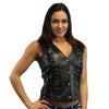 Daniel Smart Women's Open Neck Leather Vest w/ Lacing Details, Black