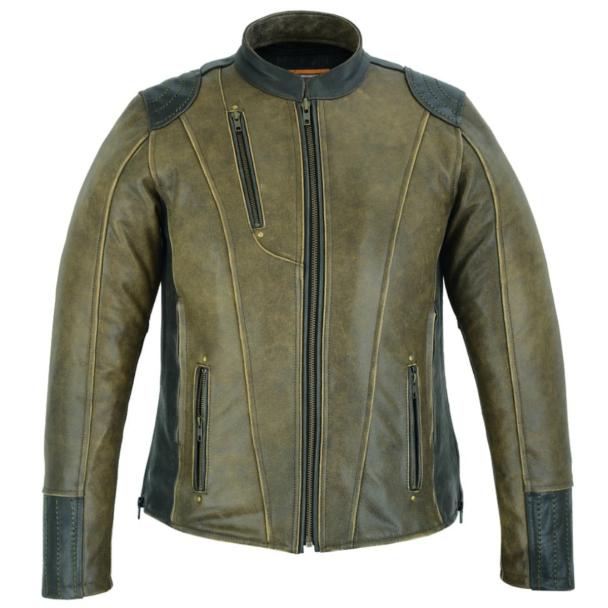 Daniel Smart Women's Dressed to the Nine Motorcycle Leather Jacket, Vintage Brown