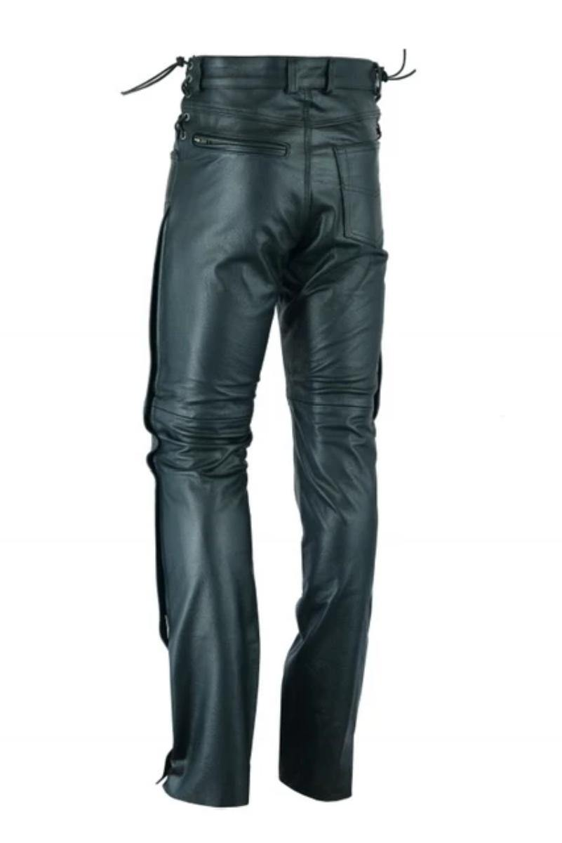 Daniel Smart Deep Pocket Over Pants Motorcycle Chaps, Leather, Black