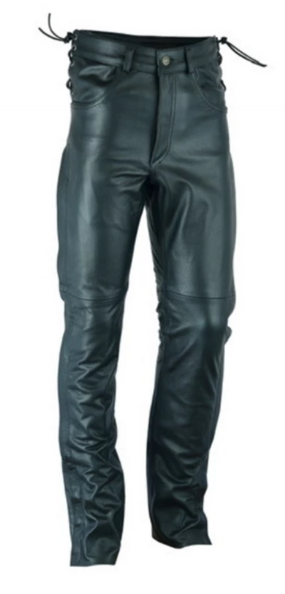 Daniel Smart Men's Deep Pocket Over Pants Motorcycle Chaps, Leather, Black