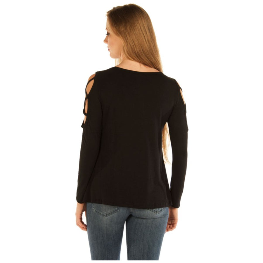 Daniel Smart Women's Devilish Raven Long Sleeves, Rayon/Spandex, Black