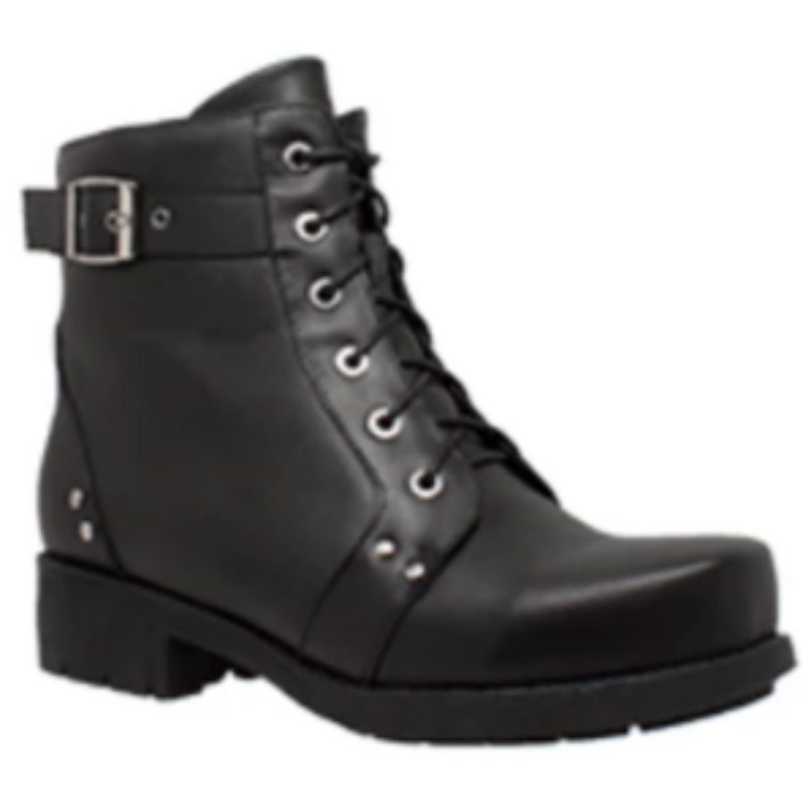 Daniel Smart Women's Double Zipper Leather Boots, Black