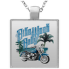 Bike Week Rally Square Necklace