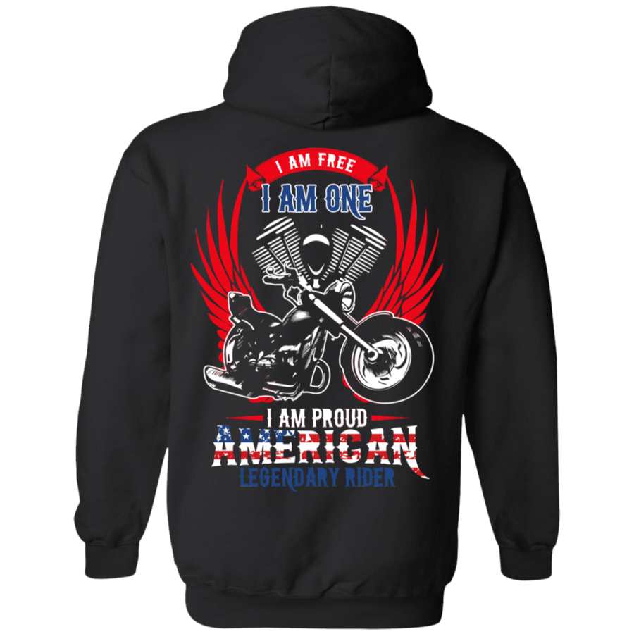 I Am Free, I Am One, I Am Proud American Legendary Rider Hoodie, Unisex, Cotton/Polyester, Black