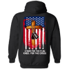 Veterans Day Hoodie - Stand For The Flag, Kneel For The Cross Hoodie, Cotton/Polyester, Black