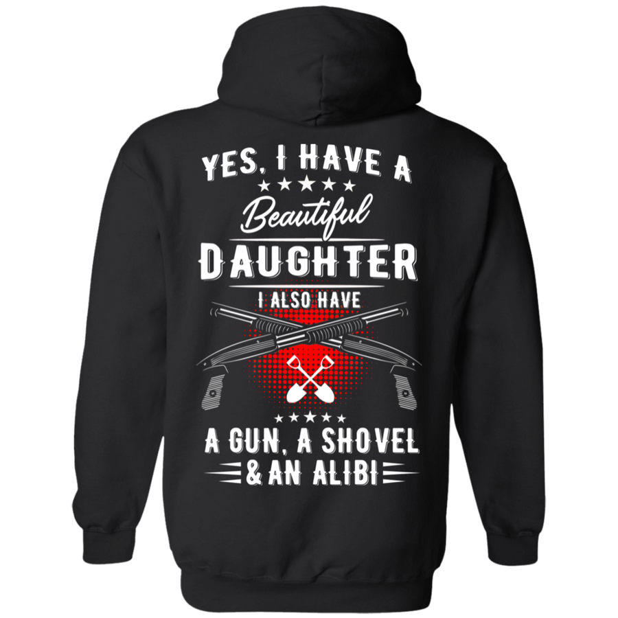 I Have A Beautiful Daughter Hoodie, Cotton/Polyester, Black