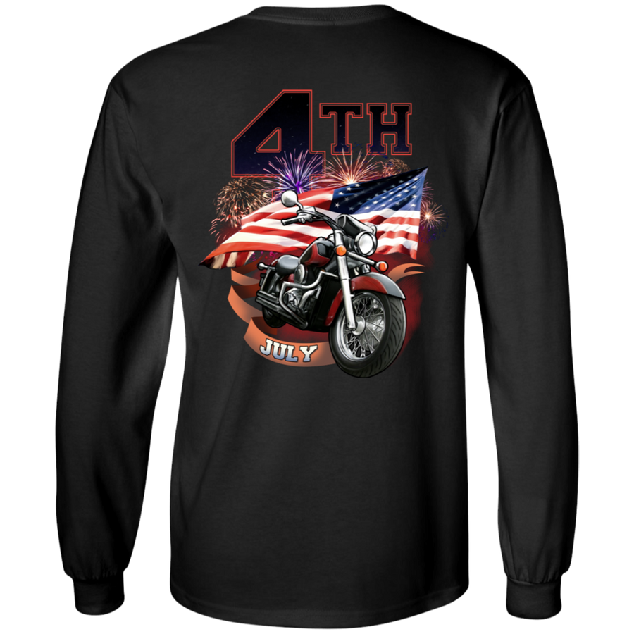 4th of July Long Sleeve T-Shirt, Cotton, Black - American Legend Rider