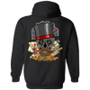 Poker Skull in a Hat Hoodie, Cotton/Polyester, Black