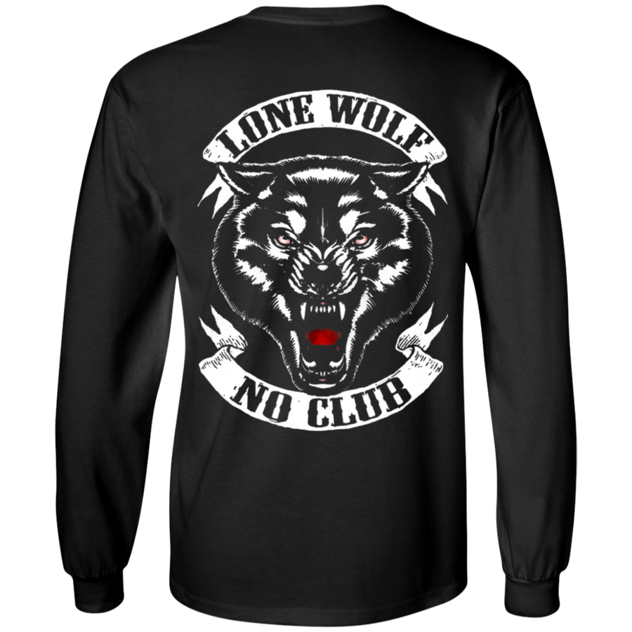 Lone Wolf, No Club Long Sleeve T-Shirt, Cotton, Black