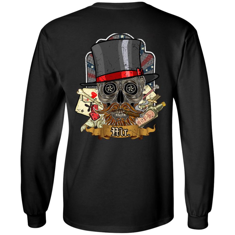Poker Skull in a Hat Long Sleeve T-Shirt, Cotton, Black
