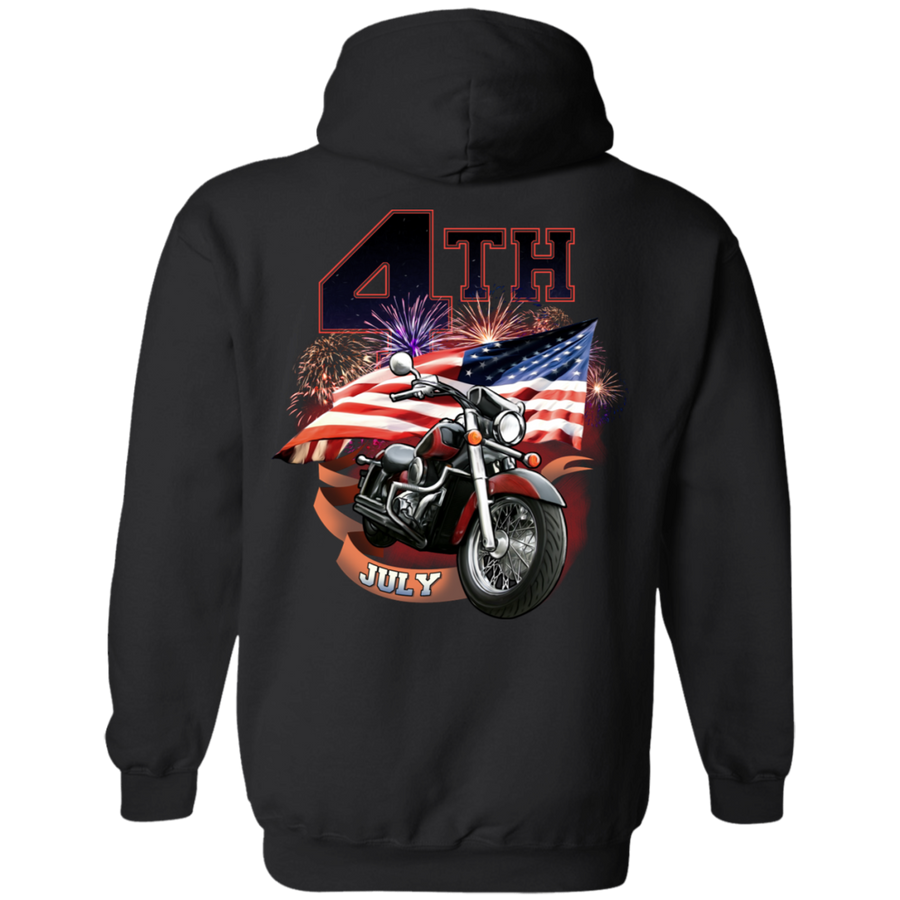 4th of July Hoodie, Cotton/Polyester, Black - American Legend Rider
