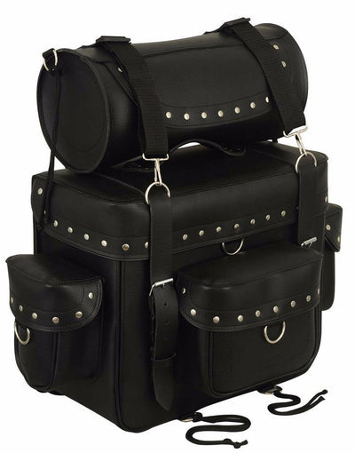 First Manufacturing Sissy Bar & Roll Bag, Leather, Black