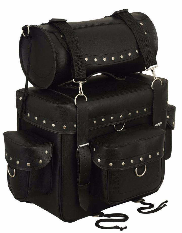 First Manufacturing Sissy Bar & Roll Bag, Leather, Black - American Legend Rider