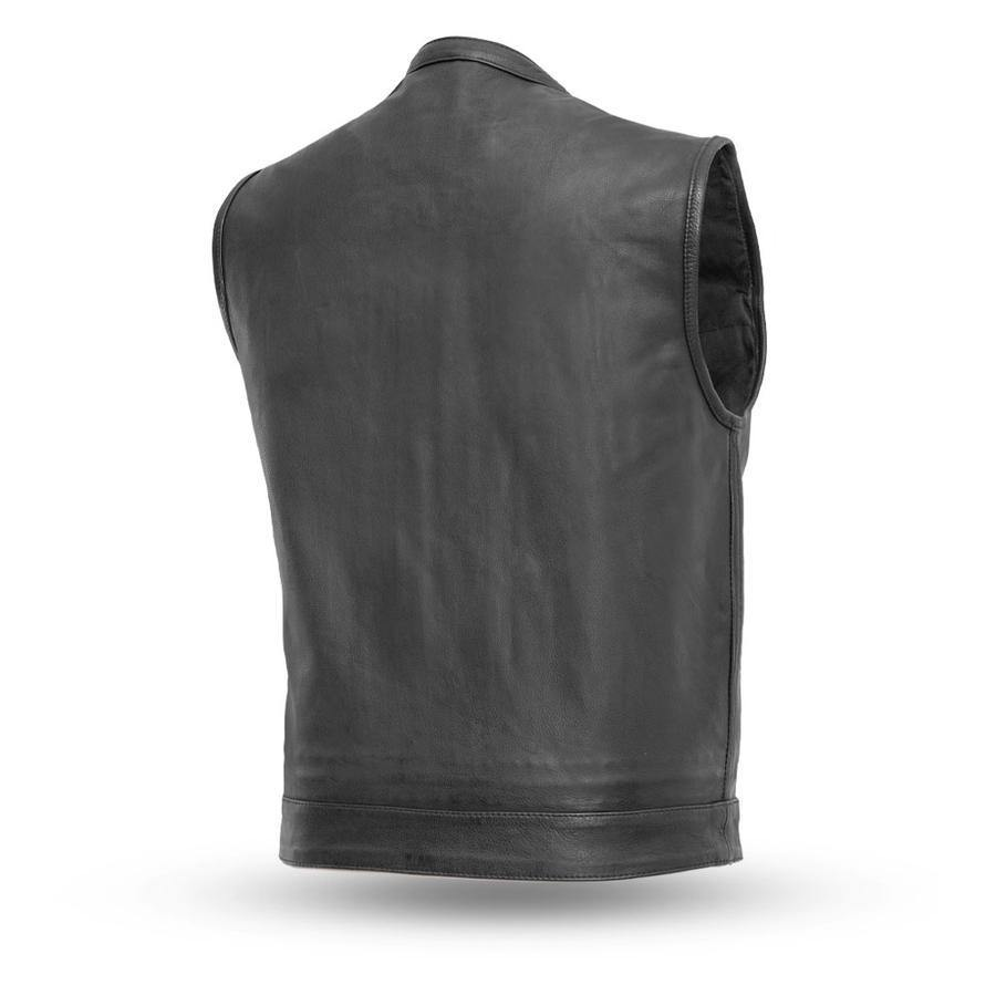 First Manufacturing Sharp Shooter Motorcycle Leather Vest, Black