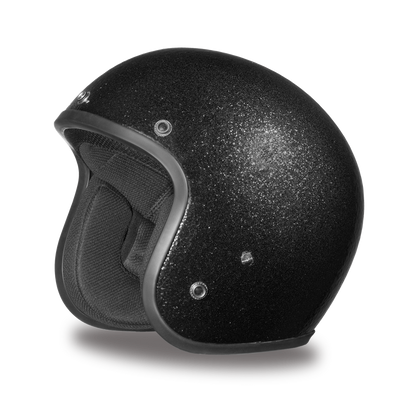 D.O.T. Cruiser Black Metal Flake 3/4 Shell Motorcycle Helmet, Unisex, XS-2XL