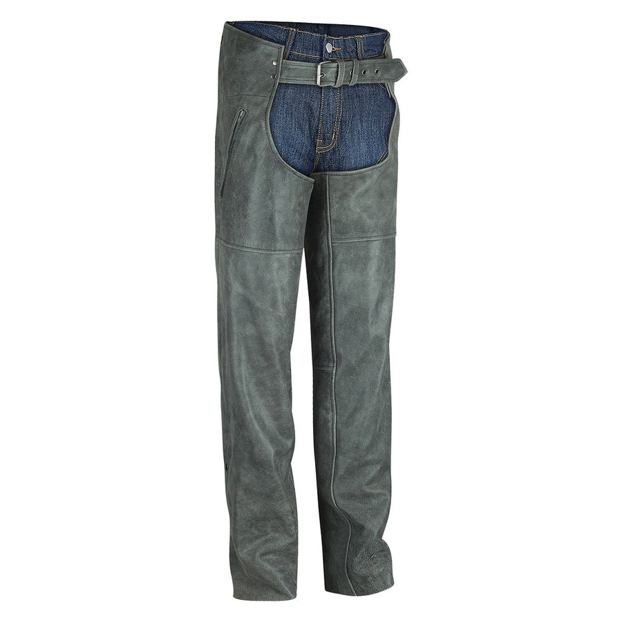 Vance Leather High Mileage Distressed Grey Leather Chap