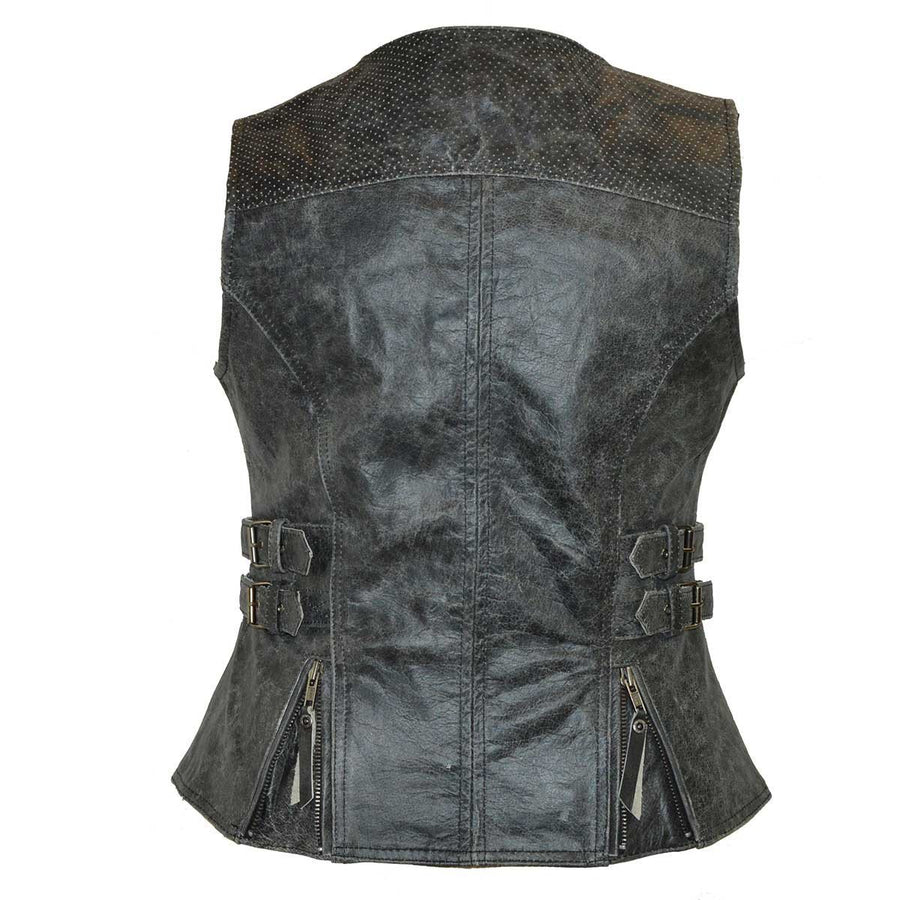 Vance Ladies Distressed Gray Premium Leather Concealed Carry Motorcycle Vest