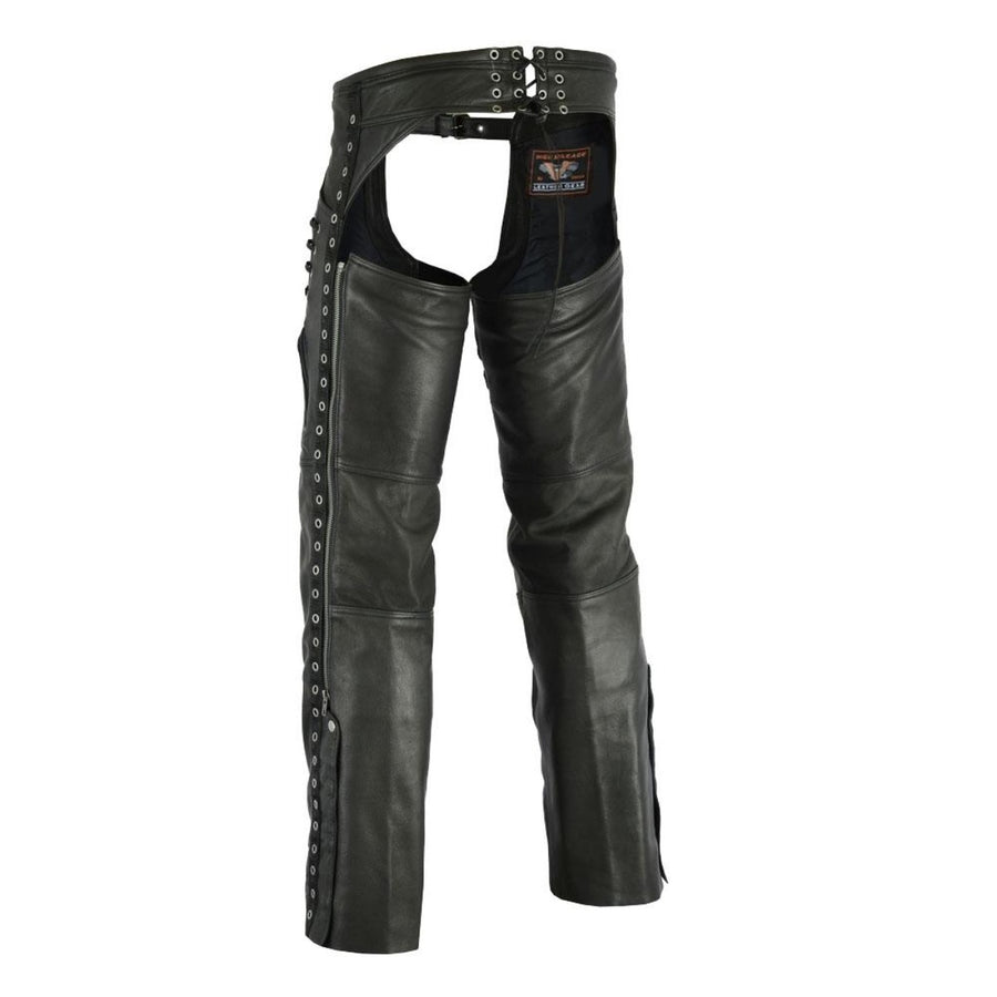 Vance Leather Women's Lightweight Naked Goatskin Leather Chap with Grommeted Twill and Lace Highlights