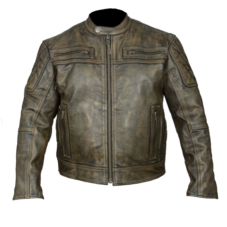 Vance Leather High Mileage Men's Distressed Brown Padded and Vented Leather Scooter Jacket