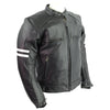 Vance High Mileage Leather Vented Scooter Jacket w/Stripes
