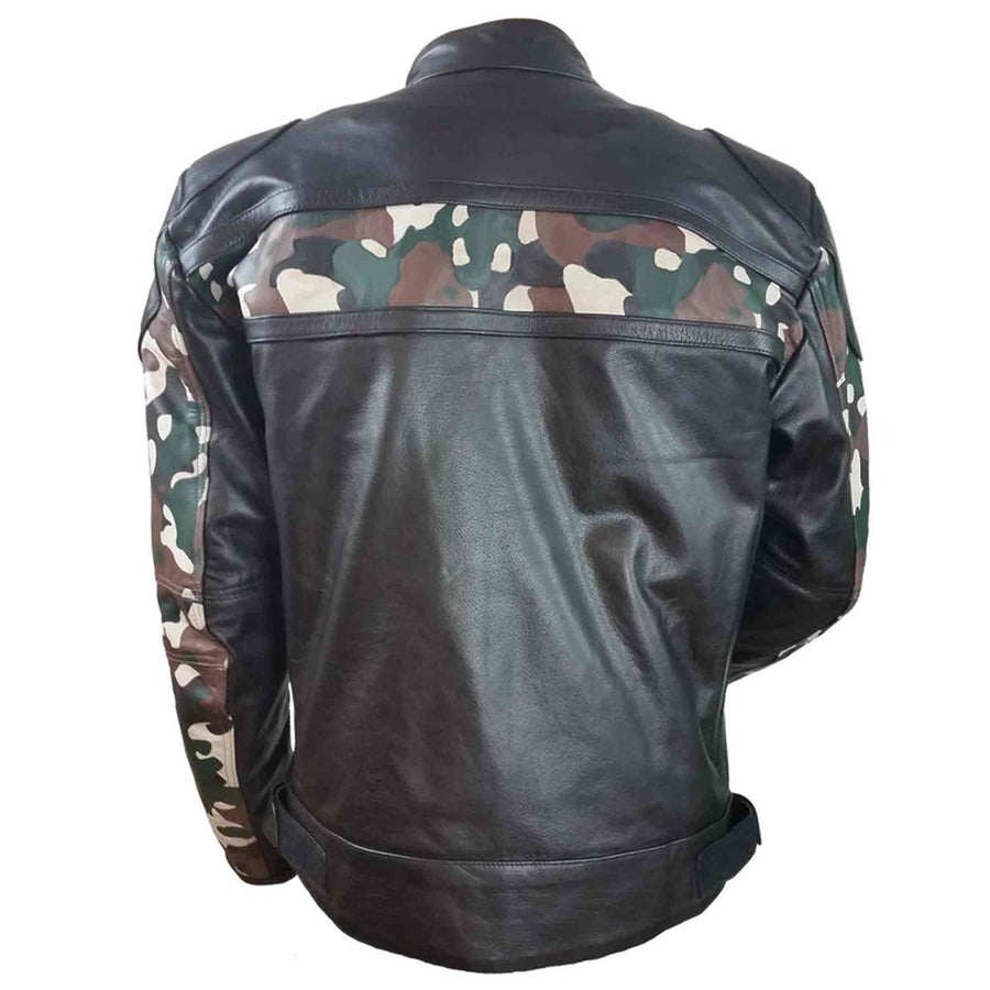 Vance Leather H/M Leather Scooter Jacket with Camouflage Chest and Sleeve Stripes