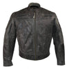 Vance Leather Men's Distressed Gray Padded & Vented Leather Scooter Jacket