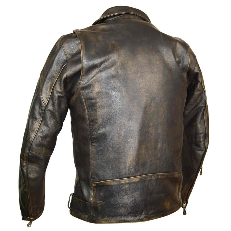 Vance Leather High Mileage Distressed Brown Classic Biker Cowhide Leather Jacket