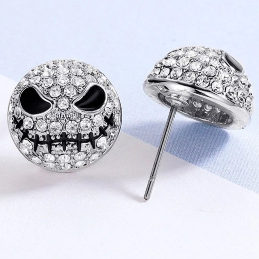 Crystal Skull Stud Earrings, Silver Color, 0.5 In